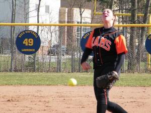 Rockford sophomore pitcher Tricia Graham delivers against Muskegon.