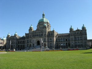 Historic Parliament Building in Victoria BC, the seat of British Columbia's legislative assembly.
