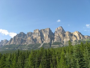 Close-up view of just a portion of huge Castle Mountain, near Banff AL, taken from the motorcoach window.