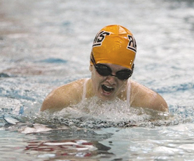 Junior Caitlin Cress competes in the individual medley with a breast stroke during Rockford's tri-meet on Saturday, Sept. 19.	Photo by SHANNON OUELLETTE