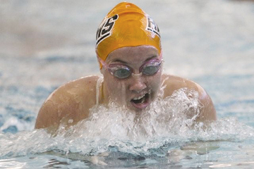Sophomore Sarah Smith competes in the 200 IM on Sept. 19.	Photo by SHANNON OUELLETTE